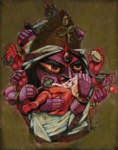 Painting of Rudra on canvas