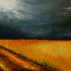 Painting of approaching rain in the fields