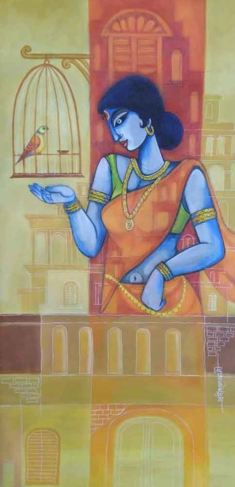 Painting of a woman on canvas