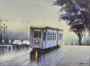 Painting on paper of tram in Kolkata