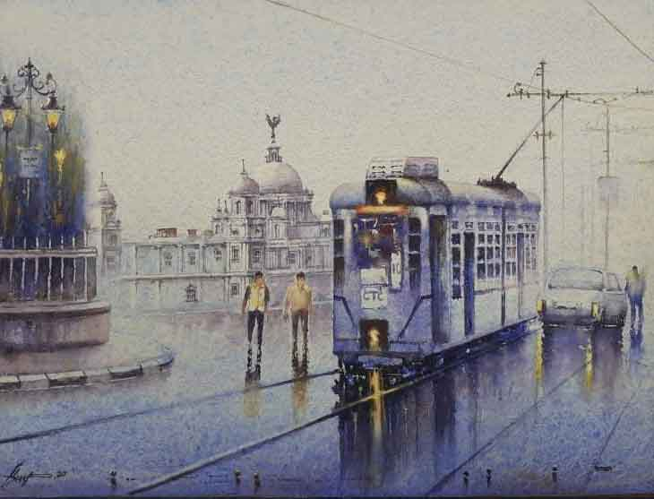 Painting on paper of tram in Kolkata