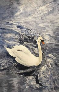 Painting on paper of a swan