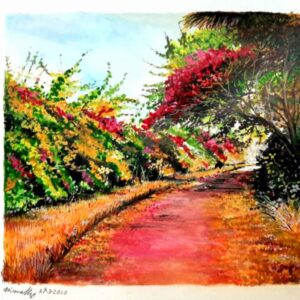 Painting of flower laden auroville on paper