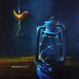 Painting of old memories like a kerosene lamp