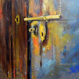 Painting of an old door in a city