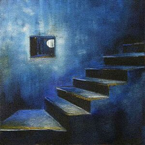 Painting of a window on canvas