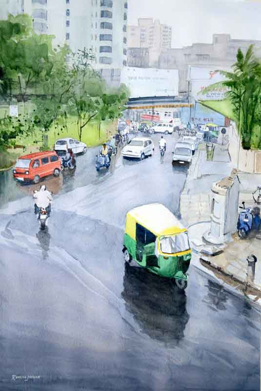 Painting on paper of rainy day in a city