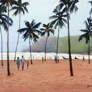 Painting of beach on paper