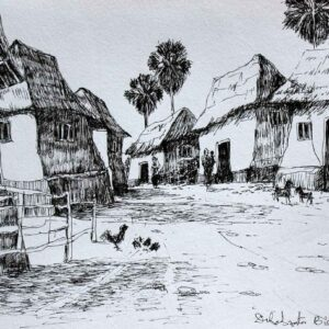 Sketch of rural landscape with pen and ink on paper