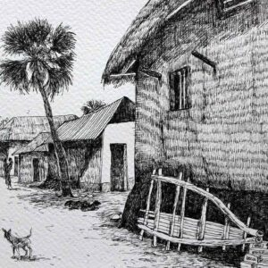 Sketch on paper with pen and ink of rural landscape