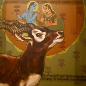 Painting of radha krishna with blackbuck deer on canvas