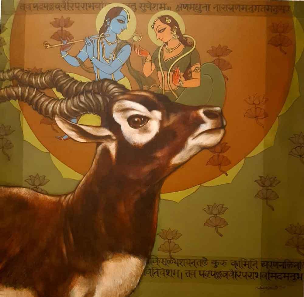 Painting of radha krishna with blackbuck deer on canvas