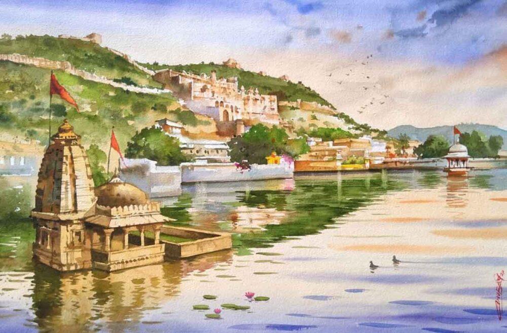 Painting on paper of Bundi buildings in Rajasthan