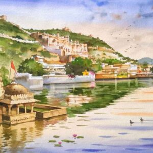Painting on paper of Bundi buildings in Rajasthan