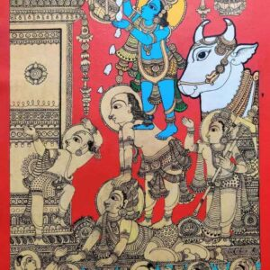 Kalamkari painting of lord Krishna on canvas