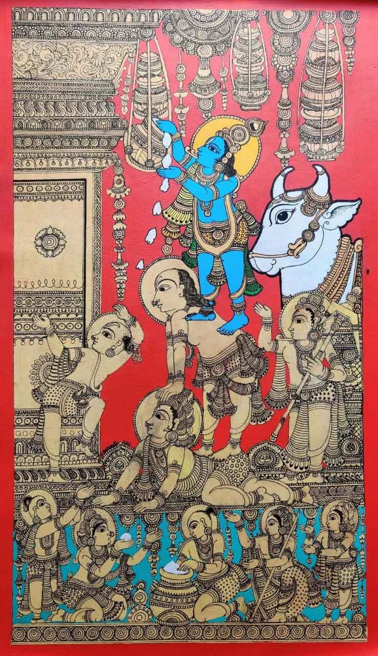 Kalamkari painting of lord Krishna on canvas