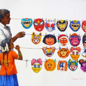 Painting on paper of person selling masks