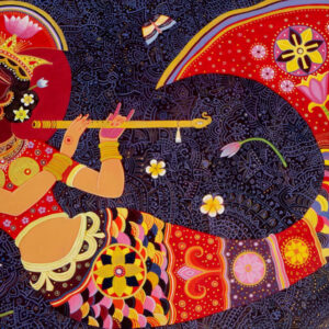 Painting on canvas of mermaid playing the flute