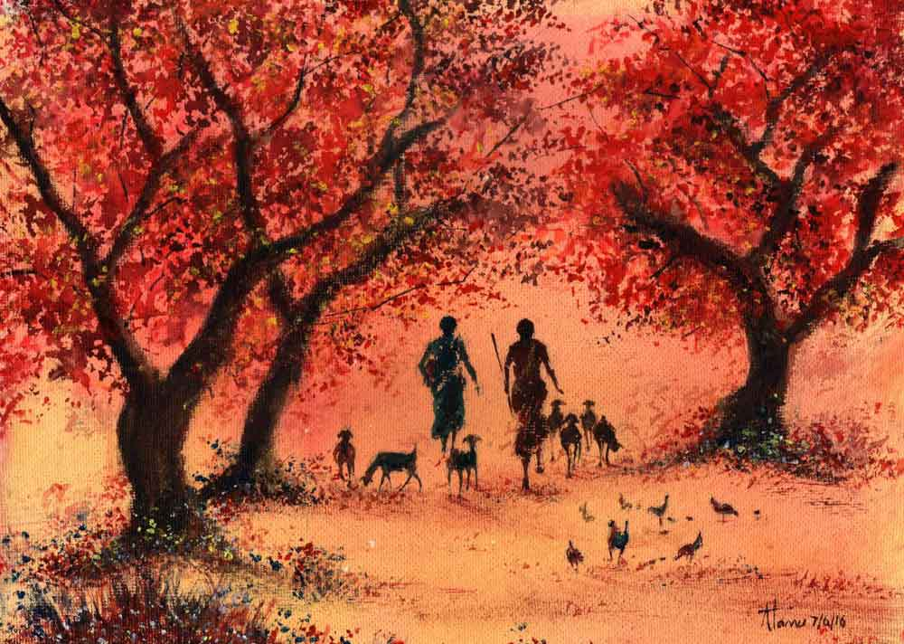 Painting on paper of rural landscape