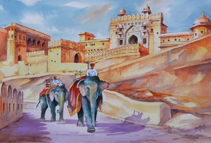 Painting on paper of elephants at fort