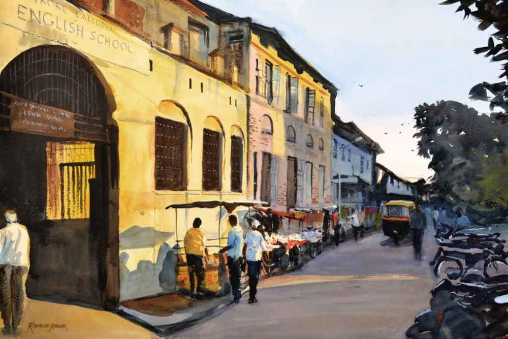 Painting on paper of city road side shops