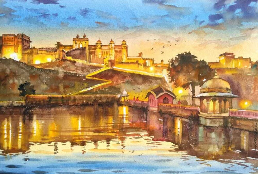 Painting on paper of Old Fort in Rajasthan
