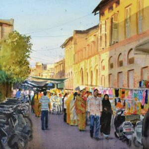 Painting on paper of a market in the city