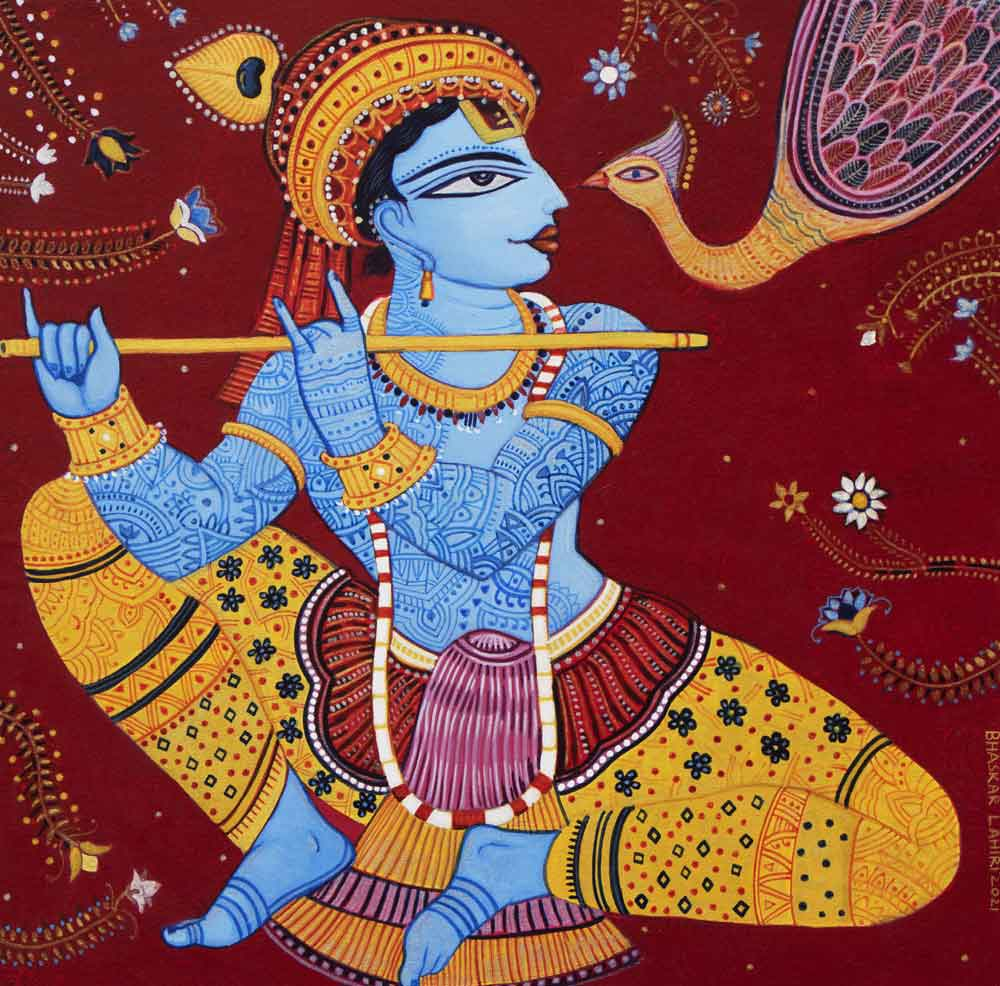 Painting on canvas of Krishna playing the flute