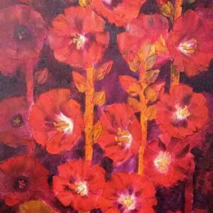Painting of flowers with oil on canvas