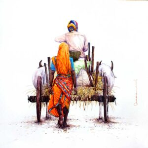 Painting on paper of a bullock cart in south india