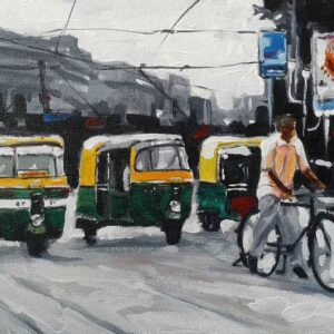 Kolkata cityscape on canvas