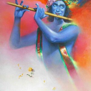 Painting on canvas of Lord Krishna