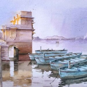 Painting on paper of lake in Rajasthan