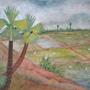 Painting of rural landscape on paper