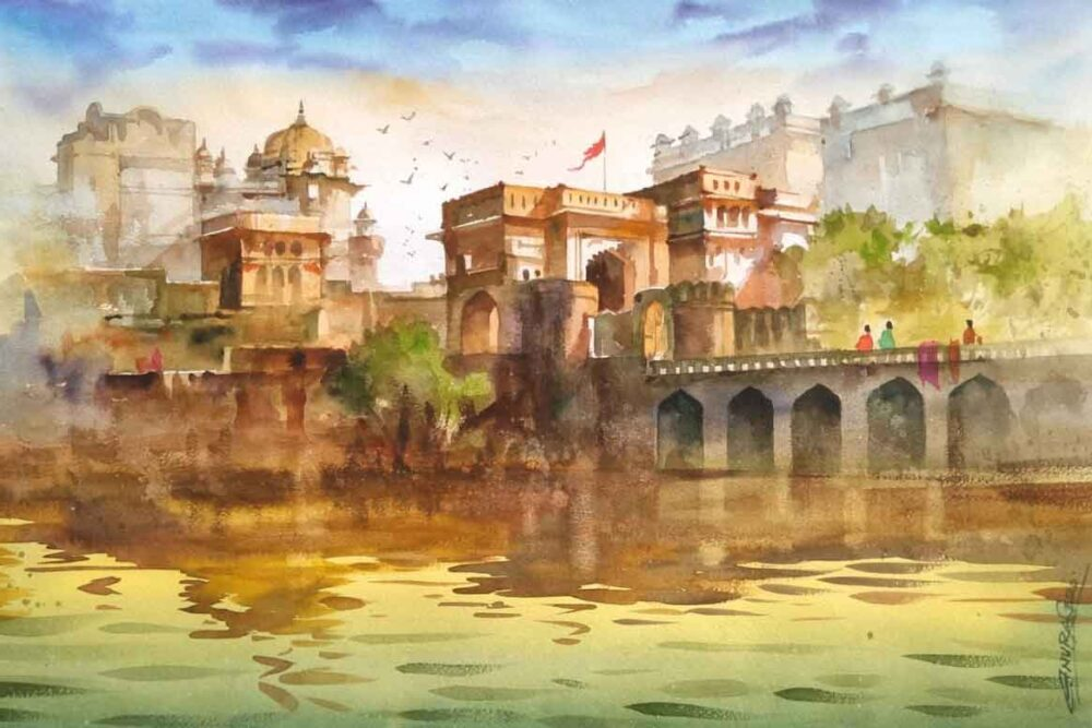 Painting on paper of fort in Rajasthan