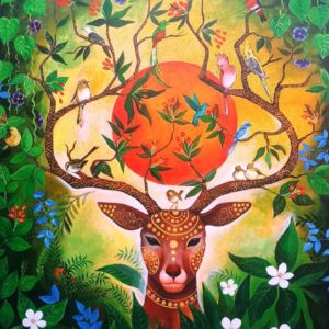Painting on canvas of colourful wildlife