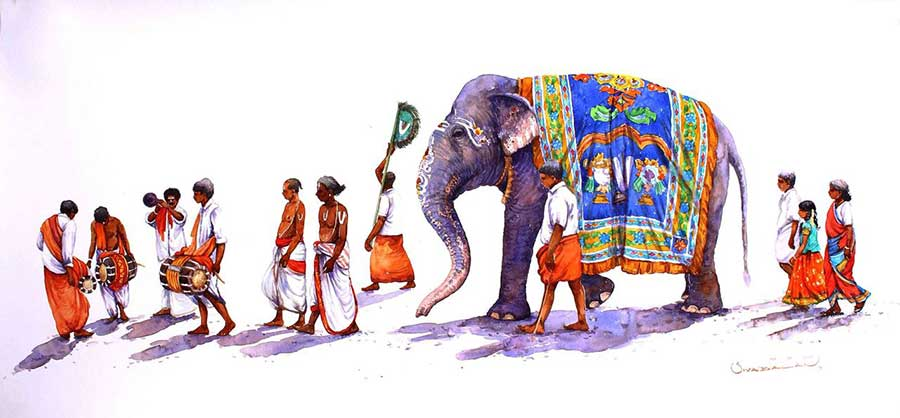Painting on paper of a south indian procession