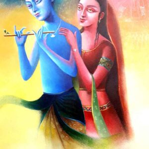 Painting on canvas of Lord Krishna and Radha