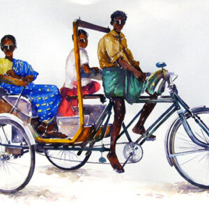 Watercolour on paper of a rickshaw with passengers