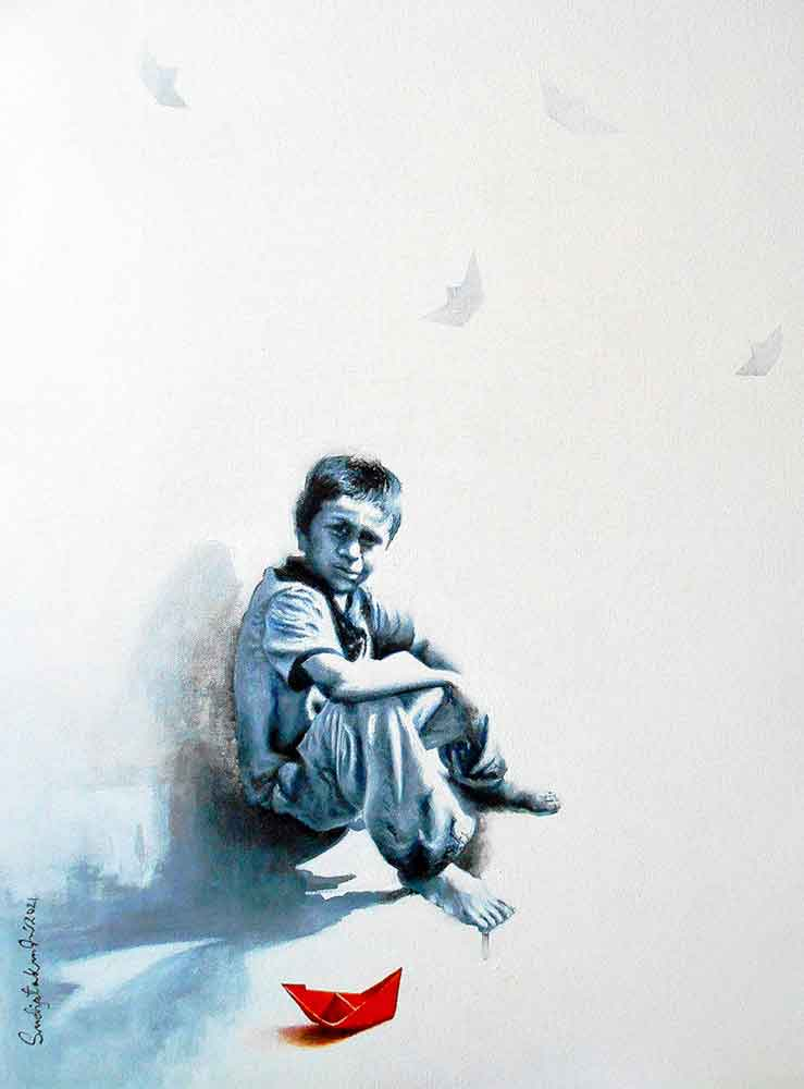 Painting on canvas of a little boy