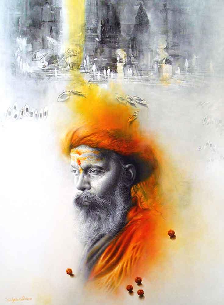 Painting of sadhu at Benaras