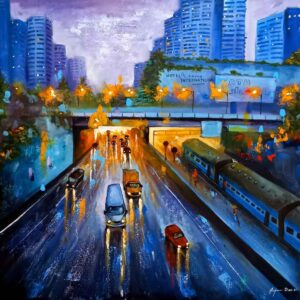 Painting on canvas of rainy day in city