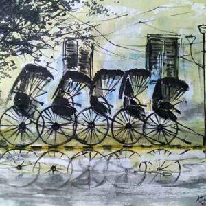Painting on paper of rickshaw