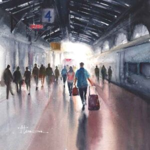 Painting on paper of railway station