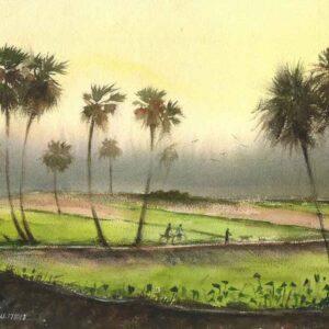 Painting on paper of village landscape