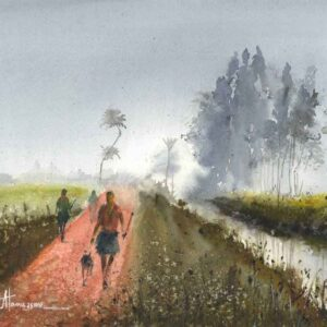 Painting on paper of landscape in village