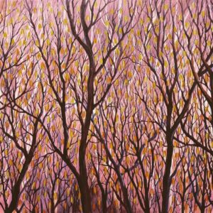 Painting on canvas of abstract autumn