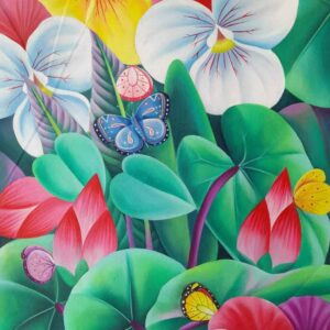 Painting on canvas of butterflies and flowers