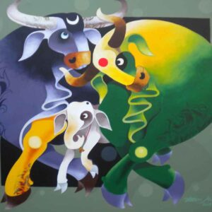 Painting on canvas of bull