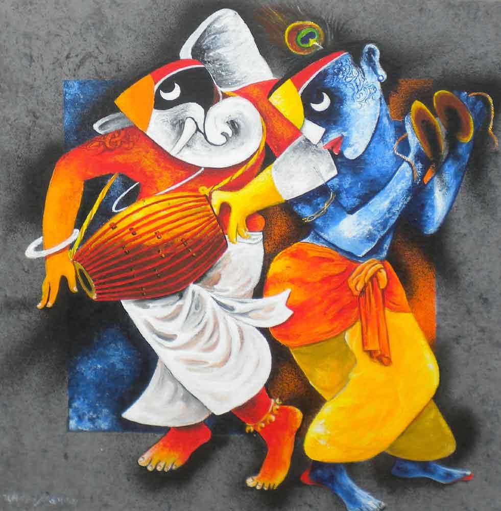 Painting on canvas of Krishna